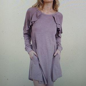 Umgee Mauve Ruffle Pocket Long Sleeve Dress New